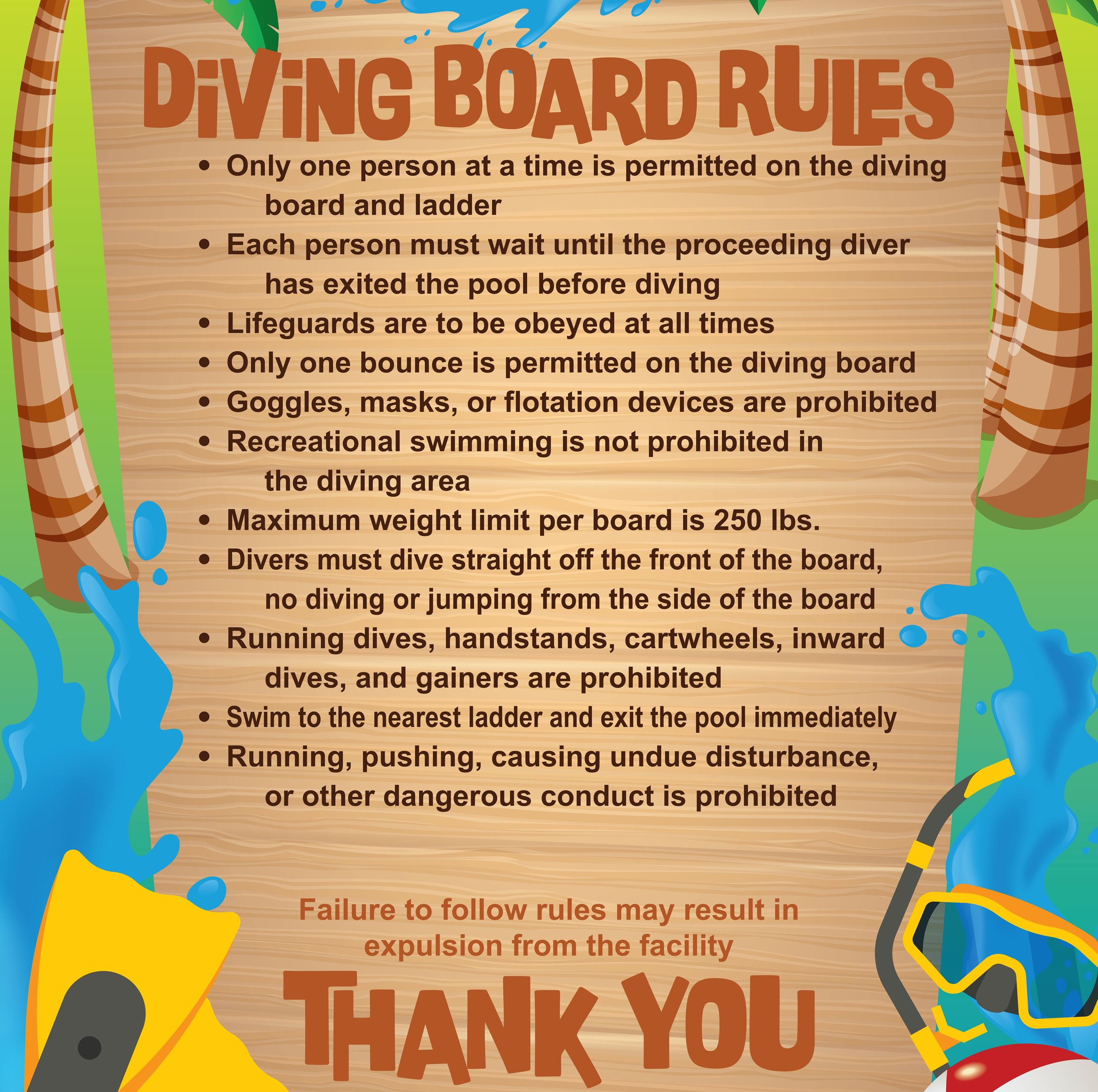 Diving Board Rules